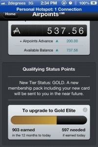 mPass App showing Gold Status
